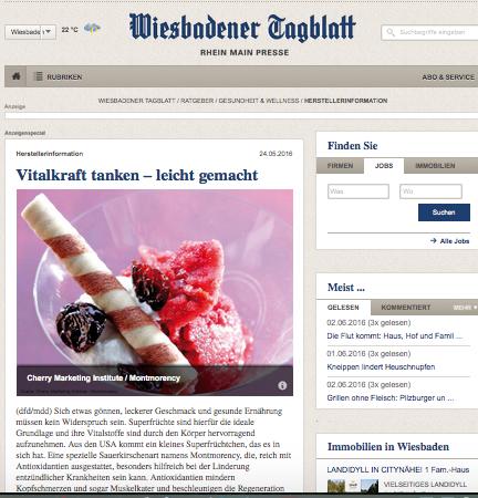 Wiesbadener Tagblatt, Vital tanken - leicht gemacht mit Montmorency